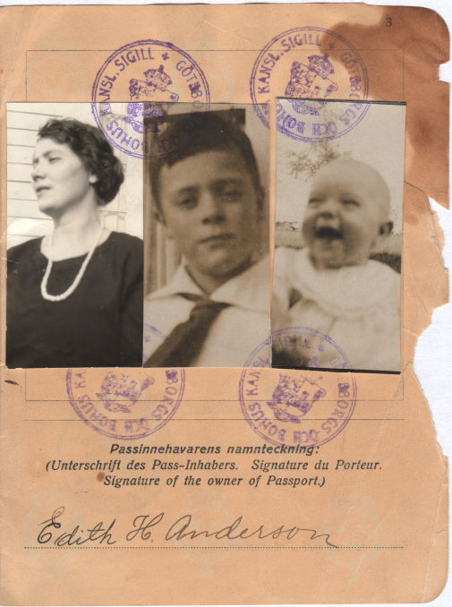 1923 Passport photos of Edith, Roland and Lennart