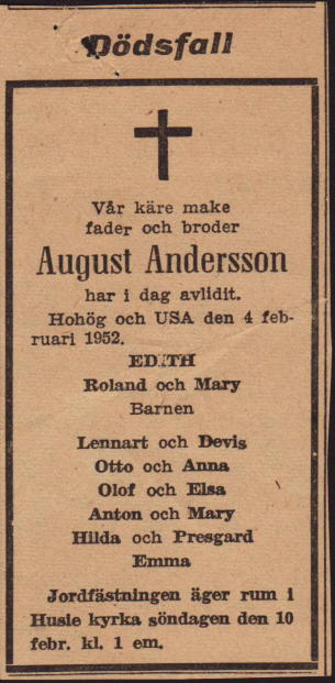 August Andersson's obituary