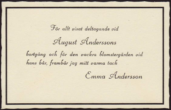 Thank you card send out after August Andersson's funeral
