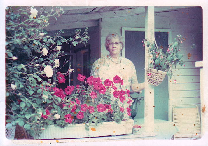 Edith Anderson at her summer cottage about 1970