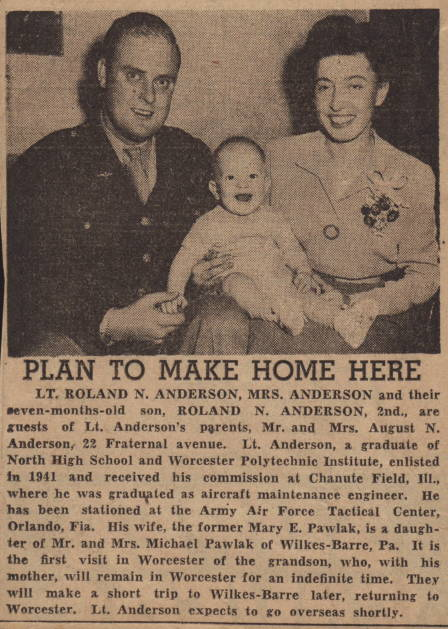 Lt Roland Anderson and wife Mary plan to live in Worcester